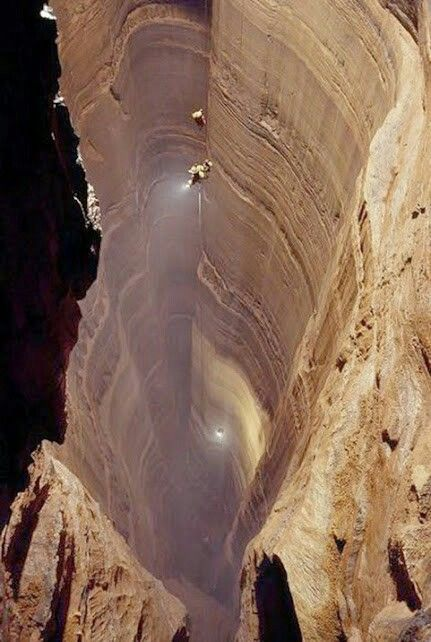 Krubera Cave - the deepest cave in the world,  Georgia.  The difference in elevation of the cave's entrance and its deepest explored point is 2,197 ± 20 metres (7,208 ± 66 ft). It became the deepest-known cave in the world in 2001 when the expedition of the Ukrainian Speleological Association reached a depth of 1,710 m (5,610 ft) which exceeded the depth of the previous deepest known cave, Lamprechtsofen, in the Austrian Alps, by 80 m.