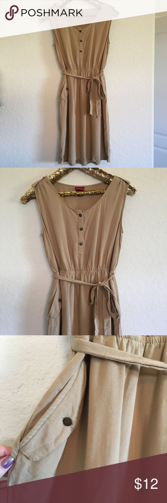 Merona Tan Dress This Merona dress is in great condition, only worn a few times! This dress is so stylish and perfect for fall! It's a size xs but could easily fit a small.  🚭 From a smoke-free home ❌ No trades or off PoshMark sales 🛍 Bundles welcome and encouraged 👌🏻 Reasonable offers welcome ⚡️ Same/next day shipping 🌬 All items are steamed before shipping Merona Dresses
