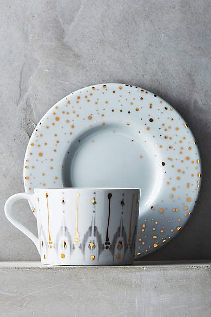 Gorgeous Ikat Thistle Cup & Saucer - anthropologie.com