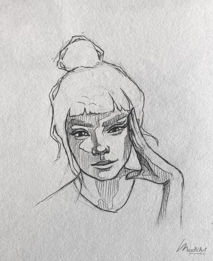 Meine Skizzenbuchkunst Ich zeichne glückliche verträumte Mädchen Ich süße S…