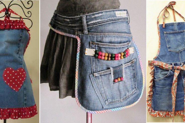 Récupérez tous vos vieux Jeans! Faites-en des tabliers! 13 Modèles à voir!
