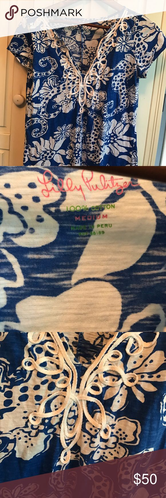 Blue and white Lilly Pulitzer Dress! Neck detail!  Classic cotton dress or cover up! Love Lilly! Lilly Pulitzer Dresses