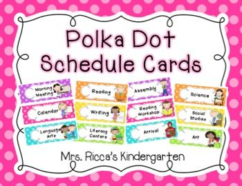 Polka Dot Daily Schedule Cards: These bright polka dot schedule cards will provide a predictable visual schedule for you and your students! This set includes 78 schedule cards plus 6 header cards. Each card includes a matching illustration to support ELLs and young learners! Just print, laminate, cut, and stick magnets on the back...or use them in a pocket chart!