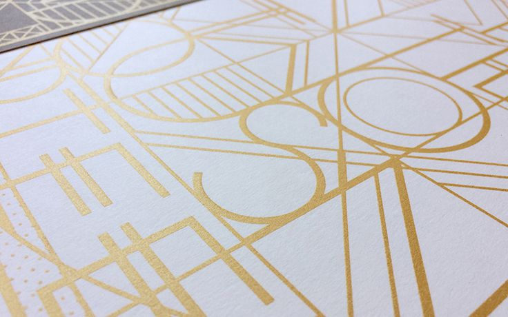 Originally envisioned as gold metallic on white, designer Wes Kull's Art Deco inspired Save-the-Date poster for Gatsby-, Hemingway-, and Radiohead-lovers Julee and Dave looks just as striking on all the other paper stocks with which he experimented . — KELLY CREE