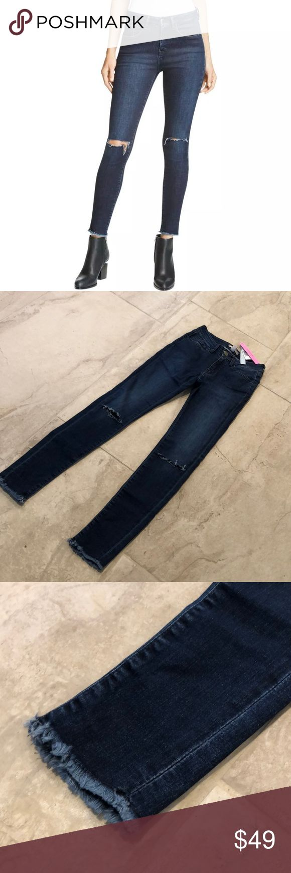 Destroyed denim from Bloomingdales Destroyed five pocket denim. Waist Across: 13 Inches, Inseam: 28 Inches, Leg Opening: 8 Inches, Hips Across: 14 Inches, Rise: 9 Inches Material: 98% Cotton/2% Elastane Aqua Jeans Skinny
