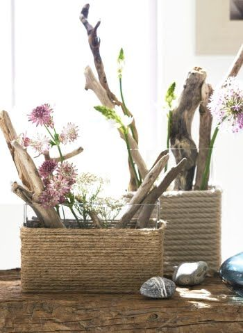 DIY square vases with rope wrap.  Love the use of driftwood mixed with flowers!