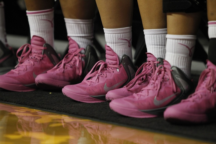 The women's basketball team wore special pink trimmed uniforms and shoes vs. Stanford on Feb. 18, 2012, helping to raise awareness for cancer research.