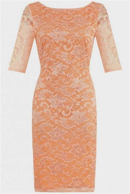 Awesome peach lace dress with sleeves