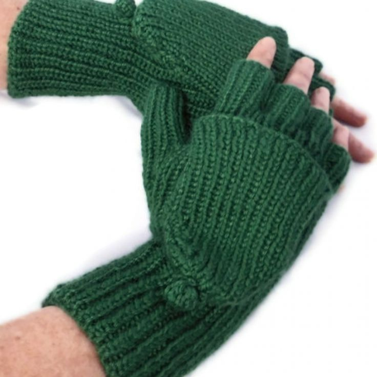Let the top down on these convertibles gloves/mittens to let you fingers free or put the top back up to keep your fingers warm. I hand knit these convertibles using Caron Simply Soft Sage 100% Acrylic yarn in a rib pattern giving it a stretchy, comfortable feel. The cuff is 4 inches long; the mitten cover is approx. 4 inches long. The entire glove is approx. 10 inches long. These convertibles will fit most women.