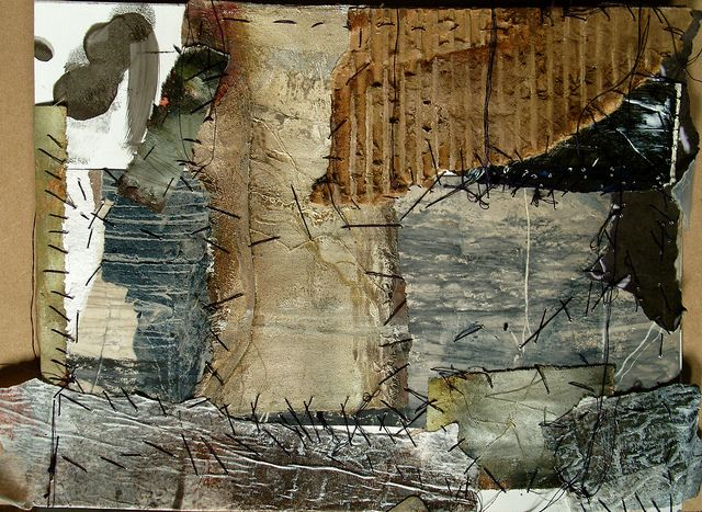 pages side 2 , Jeane Myers, mixed media sewn on yupo