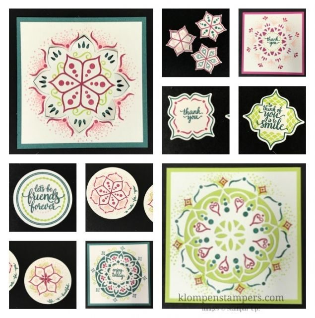 Tip sheet showing all different combinations for the Eastern Beauty stamp set and Eastern Medallions Thinlits.
