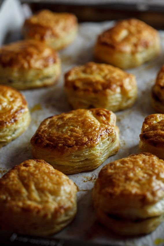 French onion soup puffs - red onions, Balsamic vinegar, soft brown sugar, puff pastry, Gruyère, and one egg.