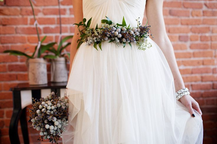 Floral bridal belt. Wedding dress belt made from flowers.  Photo by Jenna & Tristan, via Style Me Pretty.