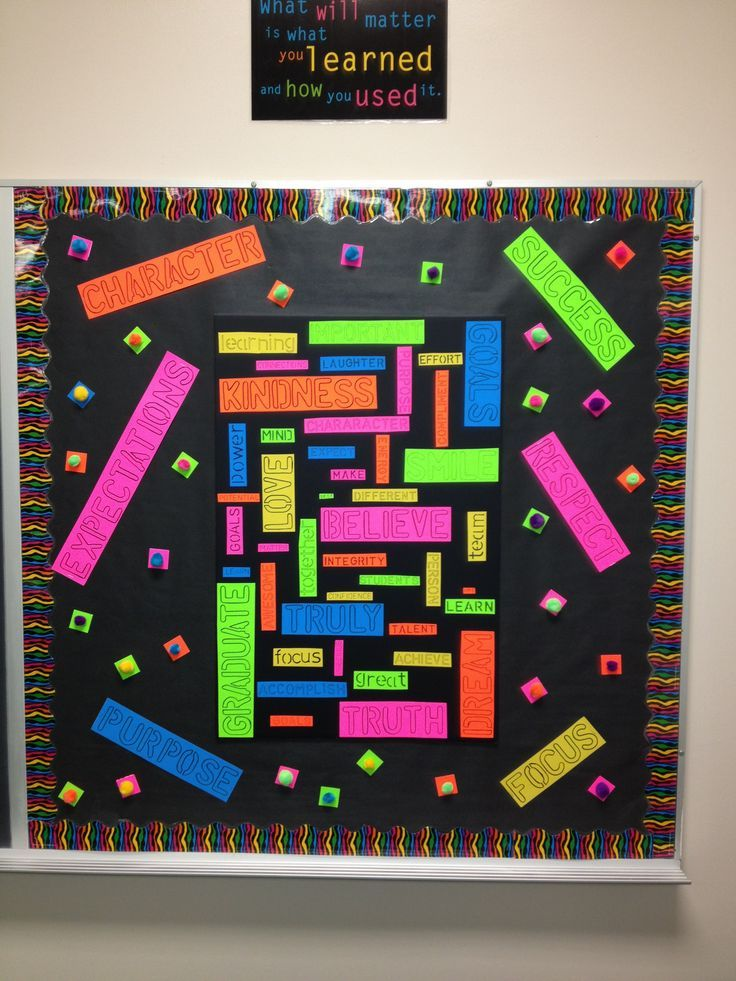 Classroom Library Decor ~ High school bulletin board words of inspiration collage