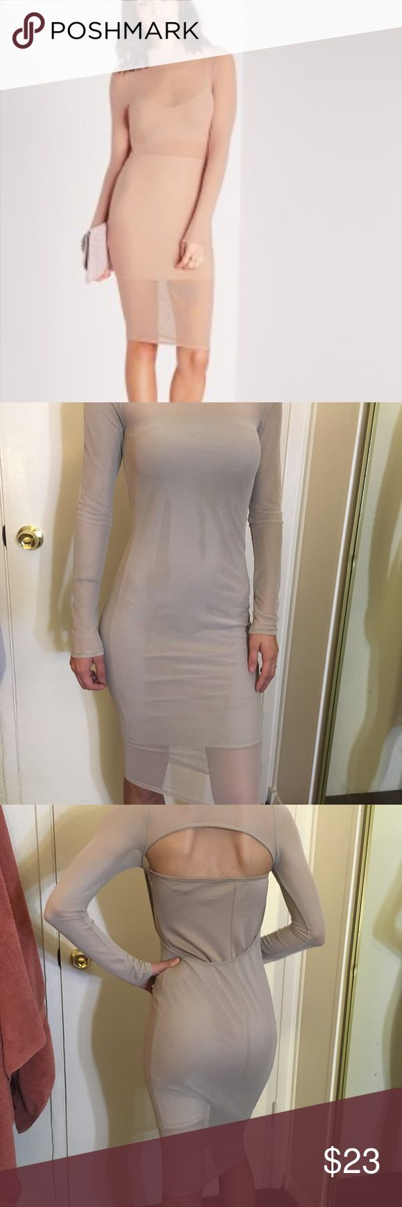 Nude mesh fitted dress Brand new!!  Nude mesh midi dress Well fitting  Long sleeve Purchased from a boutique in Beverly Hills this past weekend  It's Great quality! Dresses Midi