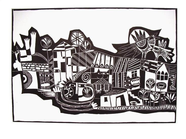 PUEBLO-PRIMAVERA  Xilografía blanco y negro  70 x 50 cms. Alejandro Silva.
