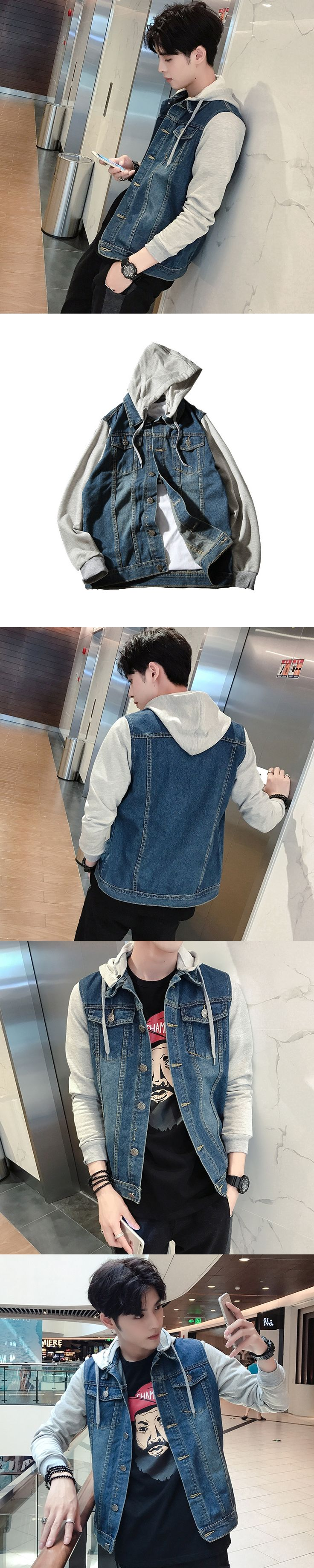 2017 Jeans Patchwork Long Knitting Sweater Jacket Loose Coat With Hat Knit Elastic Slim Casual Brand Designers Male Cardigan