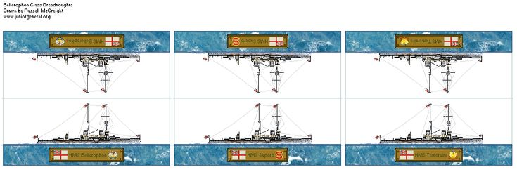 British Bellerophon Class Dreadnoughts (Micro-Scale)