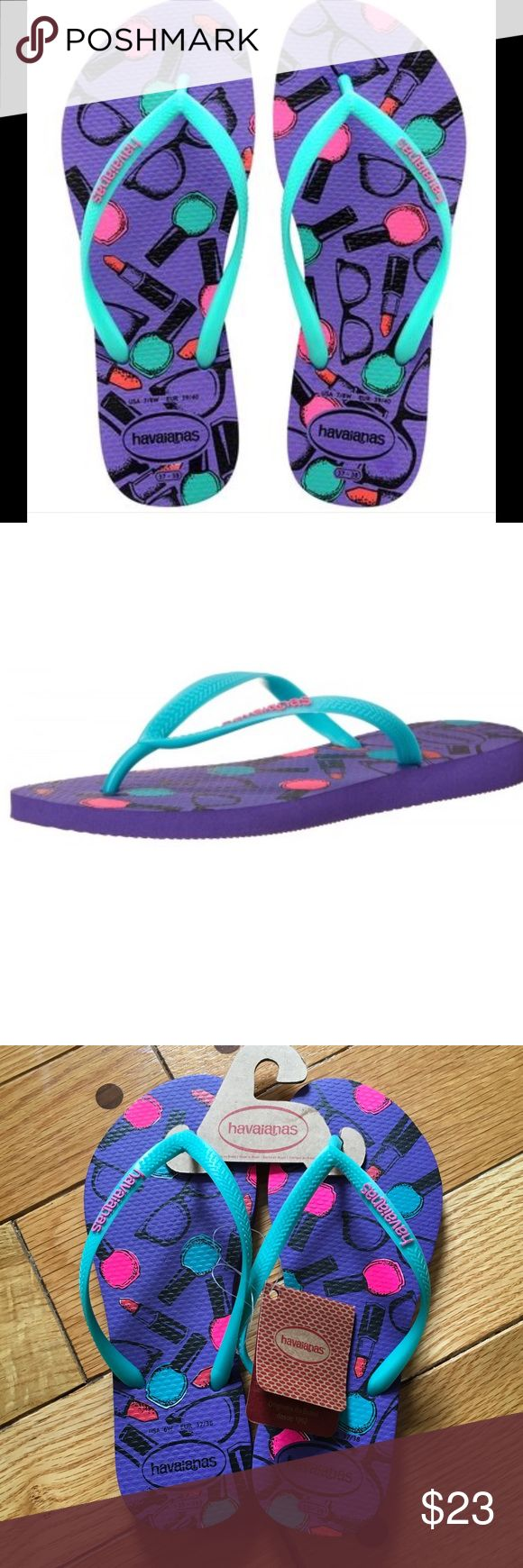 """Havaianas Slim Cool Purple Flip Flops NWT, Thong style flip flops. Cushioned footbed with textured rice pattern and rubber flip flop sole. Theme is nail polish & lipstick. Size says """"USA 6W"""" and """"EUR 37/38"""". Made in Brazil. Havaianas Shoes Sandals"""