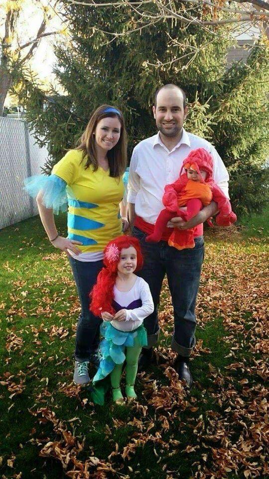DIY little mermaid group costume #family #goals #underthesea #ariel #sebastian #flounder #eric