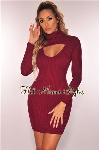 3a6069217fd Slaying through sweater season is easy in this wine ribbed knit dress.  Features a turtleneck and key hole to keep your look sexy.