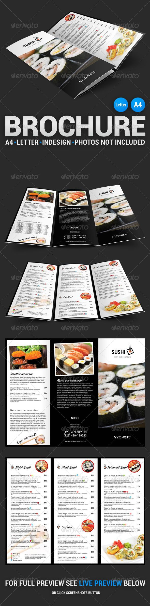 Sushi Menu Tri-Fold Brochure #template #layout