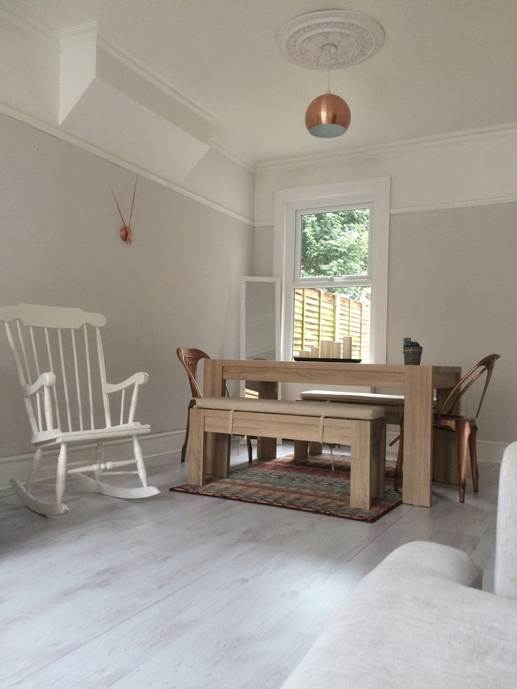 Copper clock , farm house bench , copper chair , copper lamp