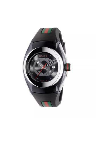 84ad4c81a59 New Gucci Sync Swiss Black Striped Rubber Strap Women s Watch YA137301