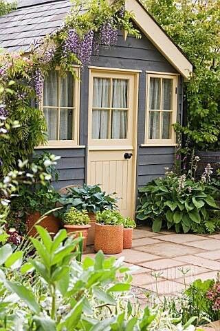 Quaint little garden house / shed, grey painted wood, wisteria