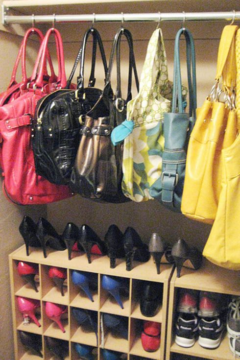 27 Life Hacks Every Girl Should Know About - Hang purses on a shower curtain rod with shower hooks.