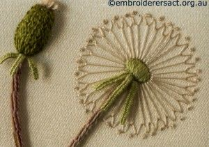 Dandelion head from Stumpwork Panel with Yellow Flowers by Lorna Loveland
