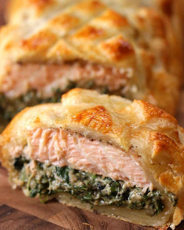 Salmon Wellington.  This is an interesting concept, could vary the ingredients for the mixture that goes inside (goat cheese, spinach, and artichokes maybe?)