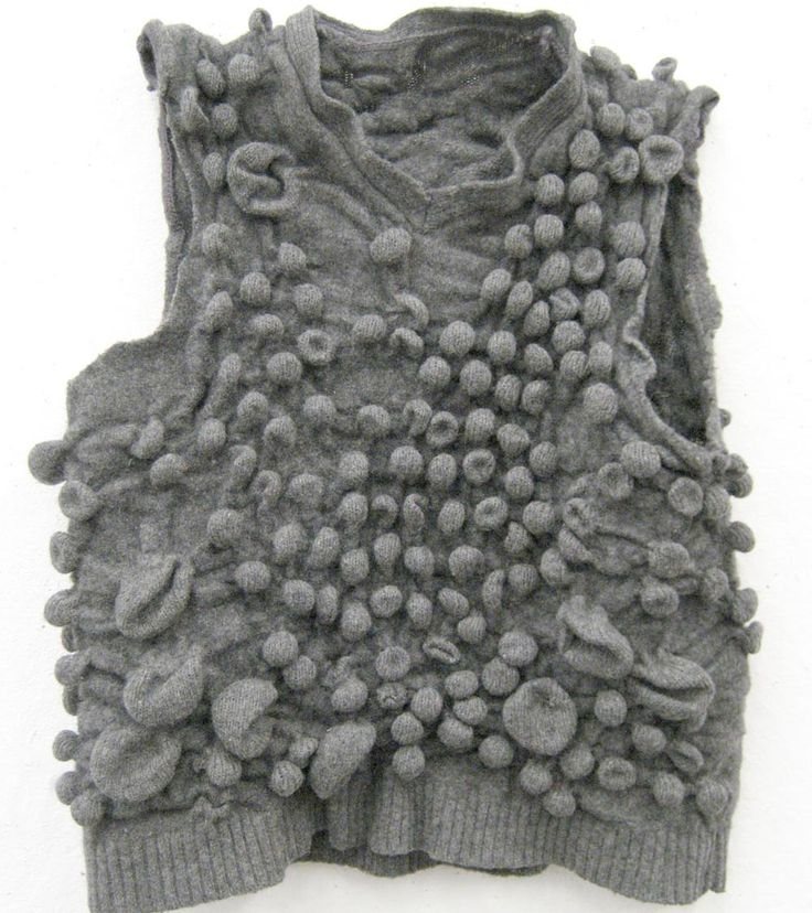 3D textiles inspired by nature - wool sweater with raised bubble textures - textile manipulation; creative knitwear design // Vanessa Vobis