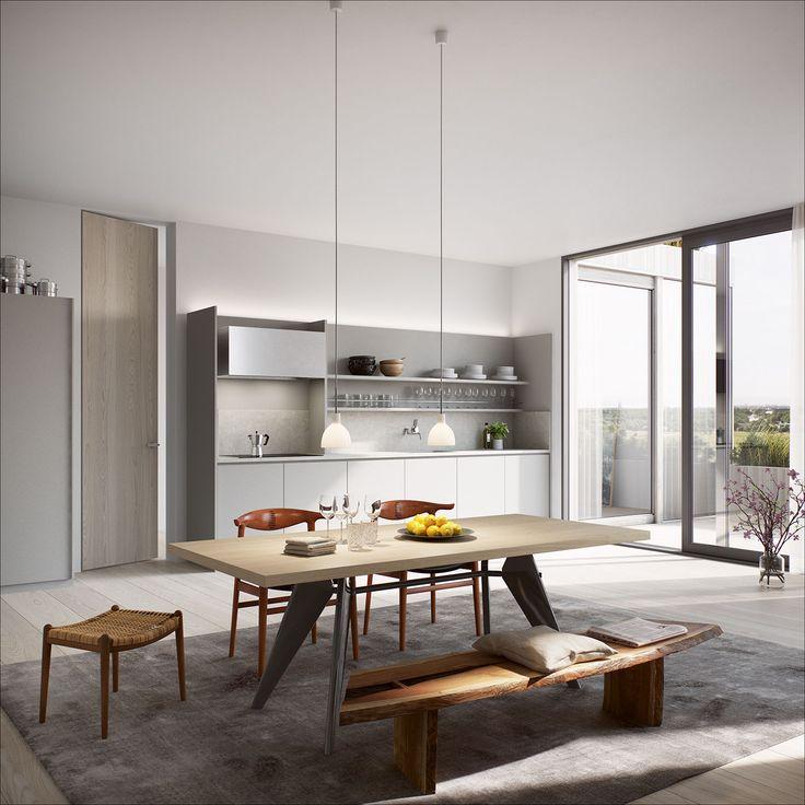 Oscar Properties #oscarproperties BIG, Stockholm, kitchen, table, window, design, interior, carpet