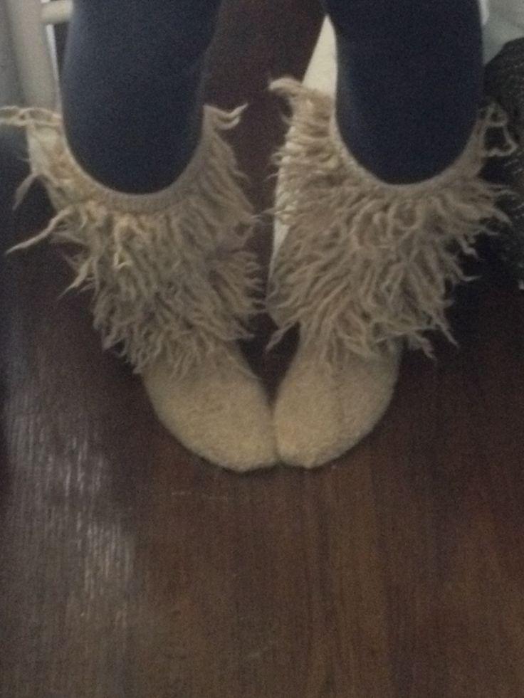 Slipper boots knit felt fringe