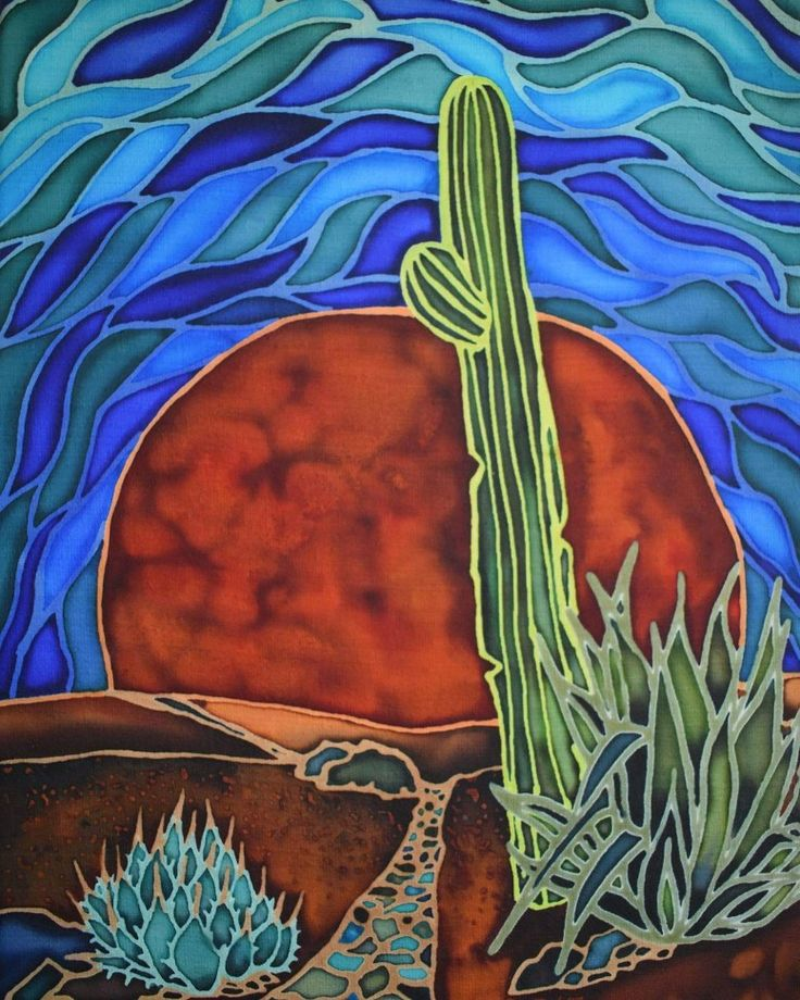 "9x12 in silk painting adhered to canvas, ""Mosaic Morning Sky"" There's a saguaro outside our apartment that leans. It has one stubby little arm. Raebirdcreations.com"