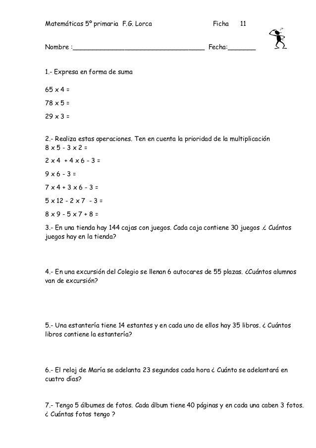 Fichas de matematica para 5º de primaria