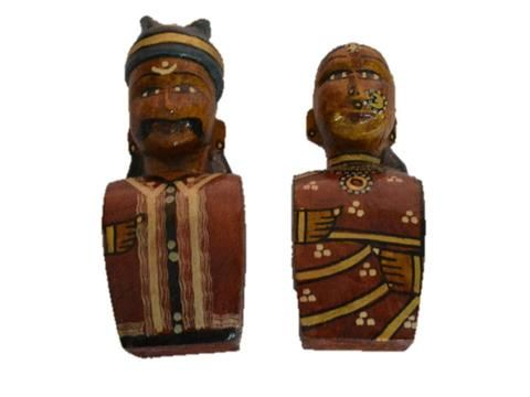 Kondapalli Doll OR kondapalli toy of Village couple , made from soft wood , size in cms -  10 * 4 * 13