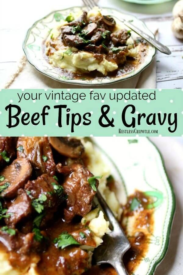 Easy beef tips and gravy have been updated with a lighter, more flavorful gravy. Your family will love this version of the vintage recipe. From RestlessCHipotle.com Easy beef tips and gravy have been updated with a lighter, more flavorful gravy. Your family will love this version of the vintage recipe. From RestlessCHipotle.com #ad #bestangusbeef #steakholder #beeftips