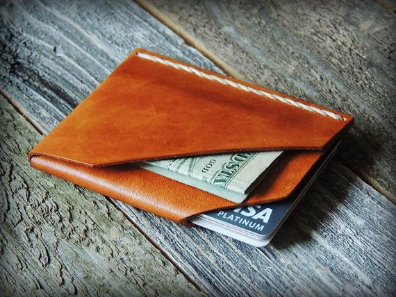 Mens Custom Leather Wallet - Leather Card Wallet - Card Holder - Husband Gift…