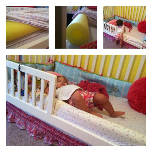 Pool noodle toddler bed rail! This should solve my problem!! Thank you Katie for showing me this :)