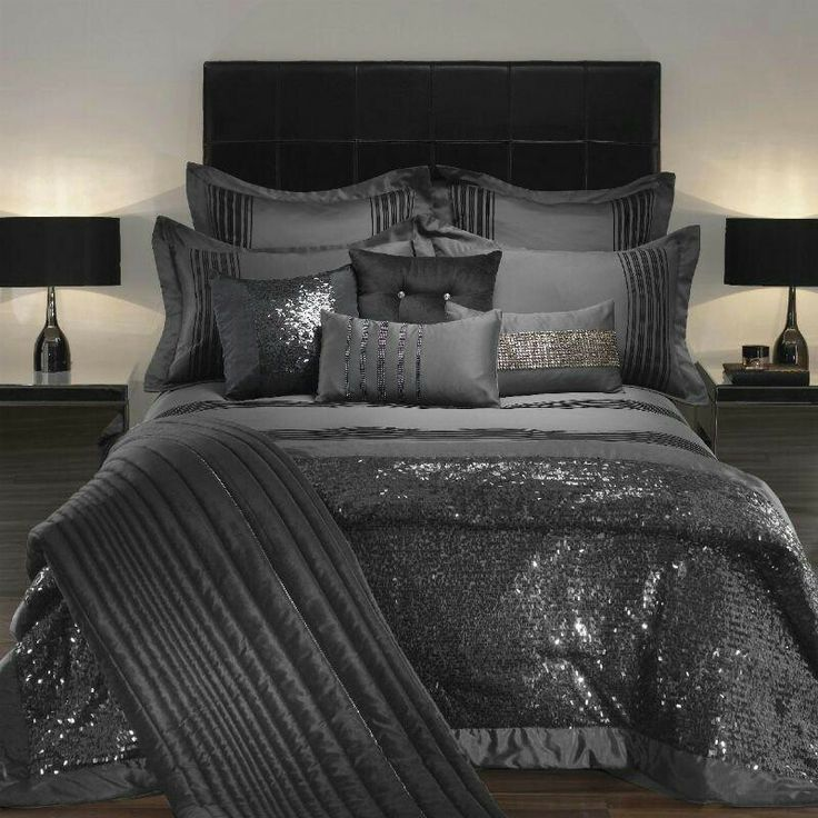 Glam bedding.  I love this, but with a splash of color…what color though?
