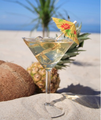Cut cocktail calories by using coconut water!