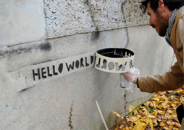 drive by stencil graffiti by Looptaggr is a DIY project by Ariel Schlesinger & Aram Bartholl.