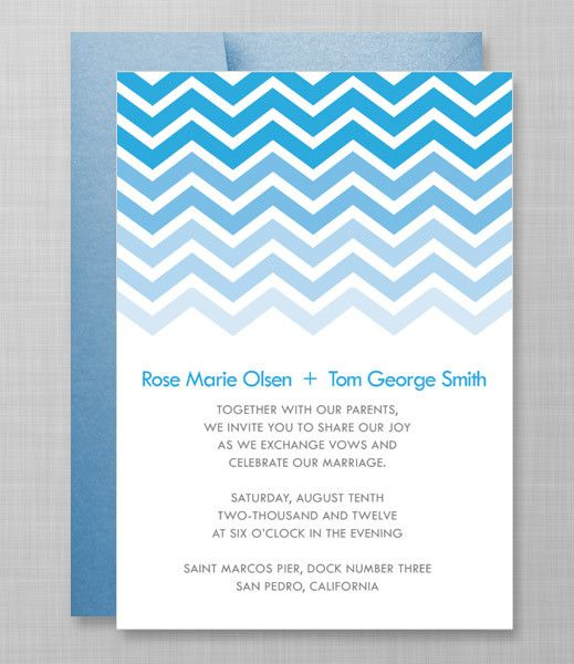 DIY Gradient Chevron Wedding Invitation from #downloadandprint. Have this made in your #wedding colors! www.downloadandprint.com http://www.downloadandprint.com/templates/gradient-chevron-invitation-template/ $18.00