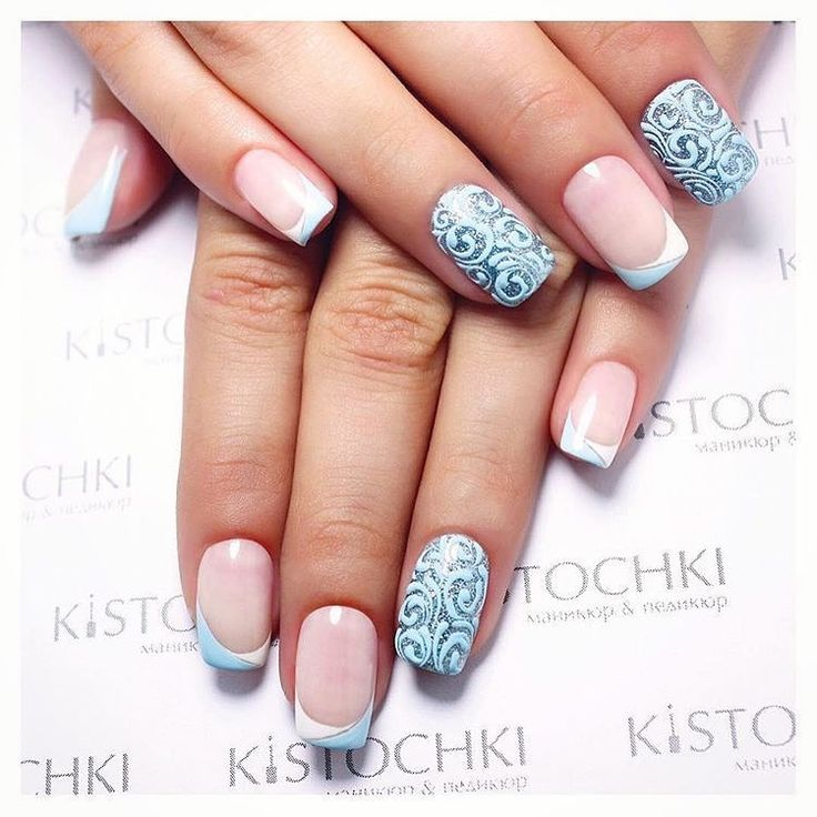 Blue and white french nails, Double french manicure, Evening nails, Exquisite nails, French manicure ideas 2017, French nail art, Monogram nails, Nails with curls