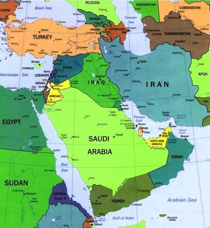 Cartina Geografica Palestina.Medio Oriente Carta Geografica E Mappe Medio Oriente