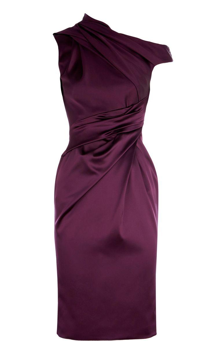 Karen Millen Signature stretch satin pencil dress purple