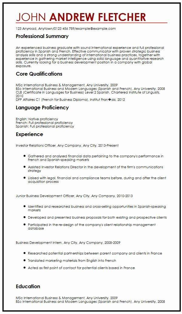 Language Proficiency Levels Resume Sample Beautiful Cv Example With Language Skills Myperfectcv Resume Skills Resume Examples Teacher Resume Template