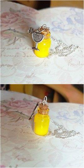 Lemonade Bottle Charm Necklace #lemonade #bottle #charm #necklace #rayolabijoux on #etsy